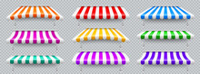 Colorful Various Shop Sunshade With Metal Mount. Realistic Striped Cafe Awning. Outdoor Market Tent. Roof Canopy. Summer Street Store. Vector Illustration.