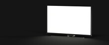 Wide TV Monitor Mockup - 3/4 Right View.. Illustration.