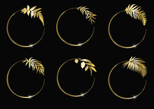 Floral Circle Frames Set. Round Golden Frames With Herbs And Leaves On Black Background.