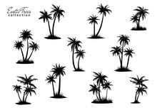 Group Of Palm Trees Silhouettes With Peace Of Land. Vector Illustration