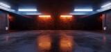 Fototapeta Perspektywa 3d - Neon Lights Grunge Sci Fi Underground Garage Car Room Cement Asphalt Concrete Brick Wall Realistic Blue Orange Colors Cyber Background 3D Rendering