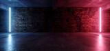 Neon Lights Grunge Sci Fi Underground Garage Car Room Cement Asphalt Concrete Brick Wall Realistic Blue Purple Colors Cyber Background 3D Rendering