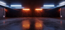 Neon Lights Grunge Sci Fi Underground Garage Car Room Cement Asphalt Concrete Brick Wall Realistic Blue Orange Colors Cyber Background 3D Rendering