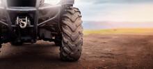 Banner Motocross Background, ATV Wheels Quad Bike On Desert Offroad Dust