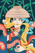 Japanese Food Ramen Poster Hand-drawn Design. Japan National Noodle Dish. Squid Or Octopus Tentacles Entwined Samurai With Bowl And Chopstick. Asian Cafe Menu Advertising Banner Or Flyer Decoration