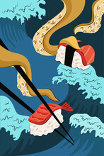 Japanese Food Sushi And Sashimi Poster Hand-drawn Design. Japan National Dish Rice And Raw Fish And Shrimp. Squid Or Octopus Tentacles Hold Chopsticks On Sea Waves. Seafood Rolls Bar Menu Promo Banner