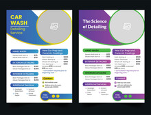 Modern Car Wash Car Detailing And Rental Flyer, Car Service And Price List Flyer, Auto Mobile Car Service Flyer