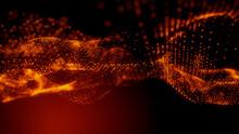 Big Data Concept. Orange, Futuristic Digital Style. 3D Render.