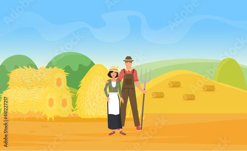 Fotografie, Obraz Farmer people work on wheat farm field with haystacks vector illustration