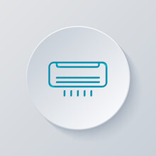 Air Conditioner, Climate System, Simple Icon. Cut Circle With Gray And Blue Layers. Paper Style