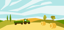 Illustration Of Harvested Agricultural Field. Autumn Landscape With Trees And Hills.