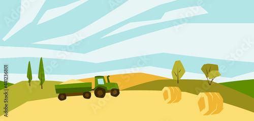 Fotografie, Obraz Illustration of harvested agricultural field