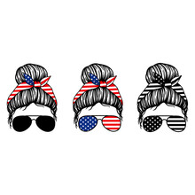 4th Of July. Women With Aviator Glasses Bandana And USA Flag Print. Patriotic Messy Bun Mom Lifestyle. Vector Illustration.  Isolated On White Background. Good For Posters, T Shirts, Postcards.