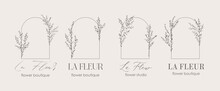 Logo Design Template And Monogram Concept In Trendy Linear Style With Arch - Floral Frame With Copy Space For Text Or Letter - Emblem For Fashion, Beauty And Jewellery, Wedding Invitation, Socia.