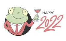 Elegant Frog Illustration And Happy 2022 Message