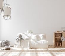 Mock Up In Children Room, Scandinavian Style Interior Background, 3D Render