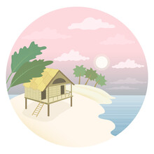 A Hut On The Beach. Landscape With Sunset And Palm Trees. White Sand Coast. Wooden House On Stilts With A Veranda And Stairs. Round Vector Logo With The Image Of The Sea And The Hotel.
