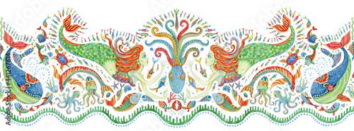 Fényképezés Seamless border pattern of hand painted fairy tale sea animals and mermaid