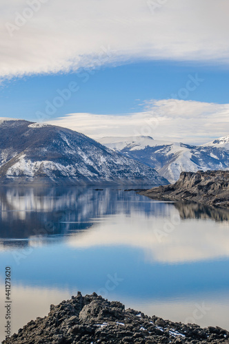 reflections of snowy mountains in the lake