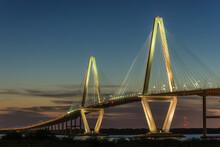 Arthur Ravenel Jr. Bridge At Sunset Looking From Mt. Pleasant To Downtown Charleston, South Carolina