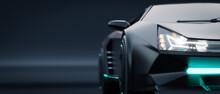 Closeup Non-existent Brand-less Generic Concept Black Electric Car Headlights