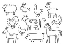 Hand Drawn Set Farm Domestic Animal, Horse, Cow, Bird. Doodle Sketch Style. Pork, Fowl Meat, Farm Food Background, Icon. Isolated Vector Illustration.