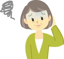 イラスト素材:体調不良シリーズ 年配の女性が青ざめた顔で上手くいかなかったり失敗した時の表情