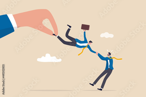 Fotografia Talent war, recruitment competition for special skill candidate, HR human resource tug of war to get employee concept, big company hand fighting by pulling businessman candidate with current employer