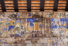 The Ancient Painting Of Buddhist Temple Mural At Wat Phra That Lampang Luang, A Famous Temple In Lampang Province, Thailand. The Temple Is Open To The Public And Has Beautiful Murals On The Walls.