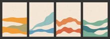 Geometric Backgrounds With Line Wave Patterns. Abstract Template With Mountains In Japanese Style