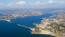 Sevastopol, Crimea. Entrance To The Konstantinovskaya Bay. Panoramic View Of The City, Aerial View