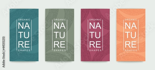 Fotografie, Obraz Set of covers with pattern of organic lines and shapes