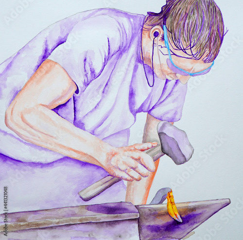 Painting of blacksmith at work striking hot metal on anvil Fototapeta