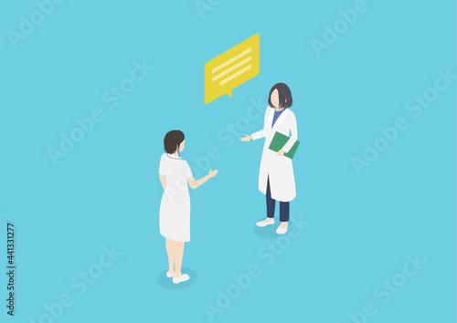 Fototapeta 看護師に指示を出す女医のイラスト素材