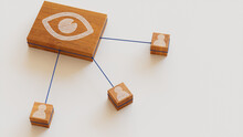 Vision Technology Concept With Eye Symbol On A Wooden Block. User Network Connections Are Represented With Blue String. White Background. 3D Render.