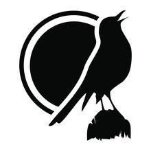 Crow On A Branch Silhouette Design