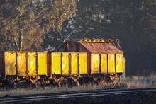 A Line Of Disused Railway Carriages