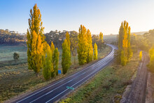 Aerial View Of A Country Road Winding Through Autumn Trees