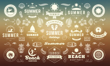 Summer Labels And Badges Design Set Retro Typography For Posters And T-shirts
