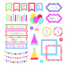 Birthday Scrapbook Design Set. Welcome, Greeting Or Congratulation Decoration Party Element Collection. Scrapbook Present Kid Clipart. Anniversary Packaging. Birthday Event Border, Frame, Banner.
