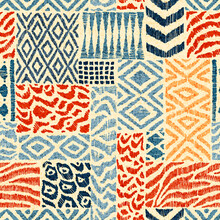 Seamless Patchwork Pattern. A Collection Of Hand-drawn Textures. Animal Print For Textiles. Ethnic And Tribal Motifs. Vector Illustration In The Style Of Boho.