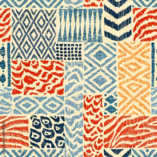 Tapety Etniczne  wzor-patchworku-kolekcja-recznie-rysowanych-tekstur-nadruk-zwierzecy-na-tekstylia-motywy-etniczne-i-plemienne-ilustracja-wektorowa-w-stylu-boho