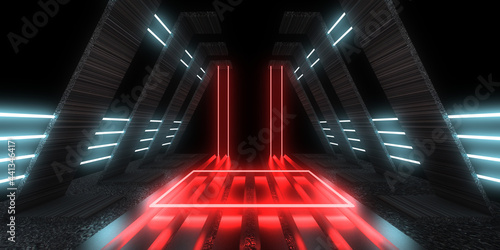 Fototapeta 3D abstract background with neon lights