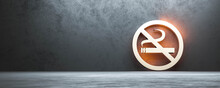 No Smoking Sign With Burning Light And Concrete Wall 3d Render Illustration