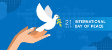 International Day Of Peace - Both Hands Are Letting The Dove Of Peace To Fly On Blue Map World Texture Background Vector Design