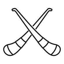 Hurling Crossed Sticks Icon, Outline Style