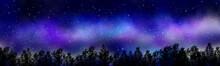 夏の星空(天の川)と森(コピースペース)