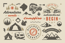 Camping And Outdoor Adventure Design Elements Set Quotes And Icons Vector Illustration