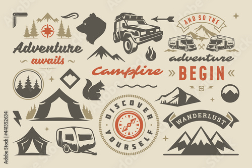 Photo Camping and outdoor adventure design elements set quotes and icons vector illust