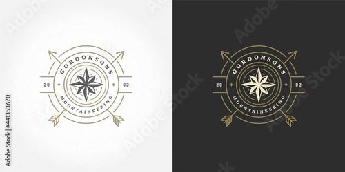 Wind rose logo emblem vector illustration outdoor expedition adventure compass s Fototapeta
